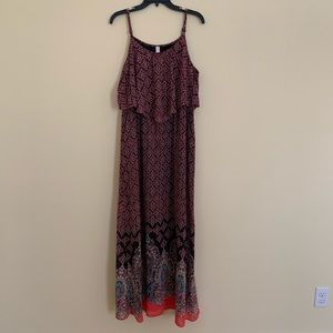 Xhilaration Boho Ruffle Layered Maxi Dress XXL